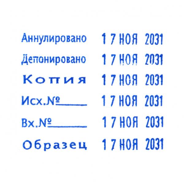 Trodat Prinry 4817 c 12 бухгалтерскими терминами и датой